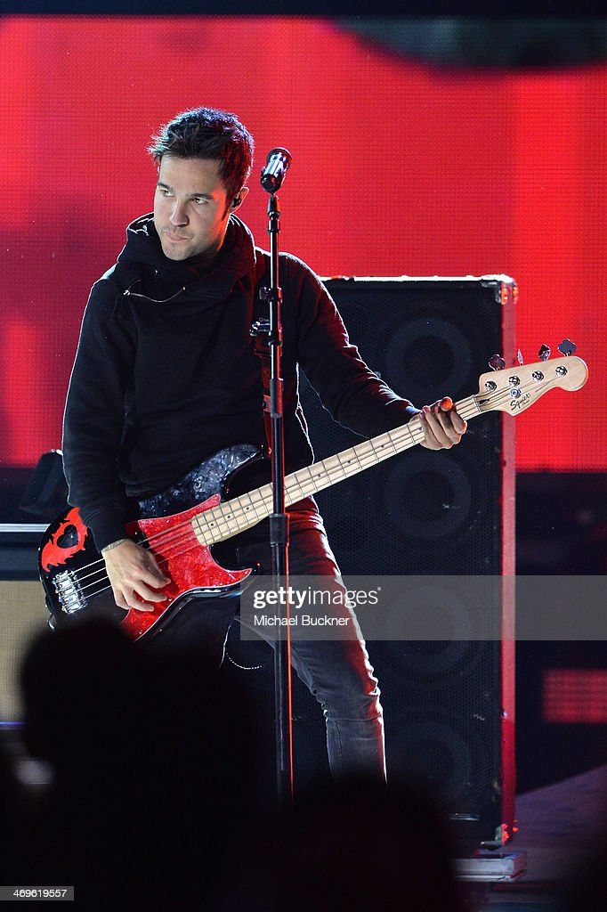 Musician Pete Wentz of Fall Out Boy performs onstage during Cartoon Network's fourth annual Hall of Game Awards at Barker Hangar on February 15, 2014 in Santa Monica, California.