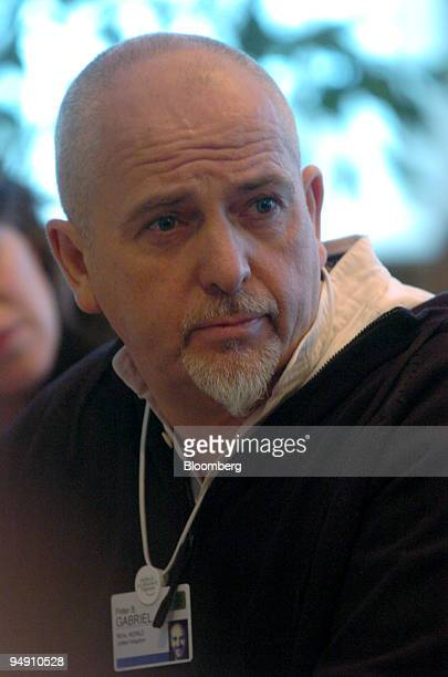 Musician Peter Gabriel is seen during a breakfast at the Hotel Belvedere as part of the World Economic Forum in Davos Switzerland January 22 2004