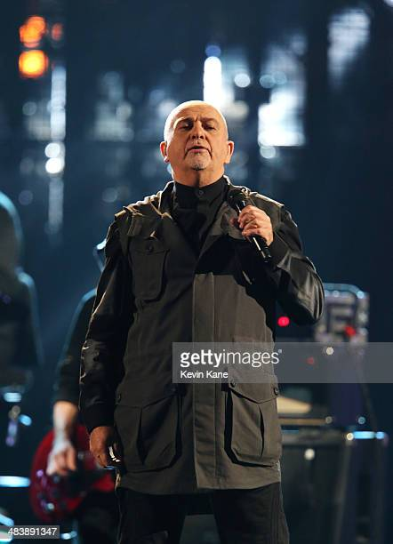 Musician Peter Gabriel performs onstage at the 29th Annual Rock And Roll Hall Of Fame Induction Ceremony at Barclays Center of Brooklyn on April 10...
