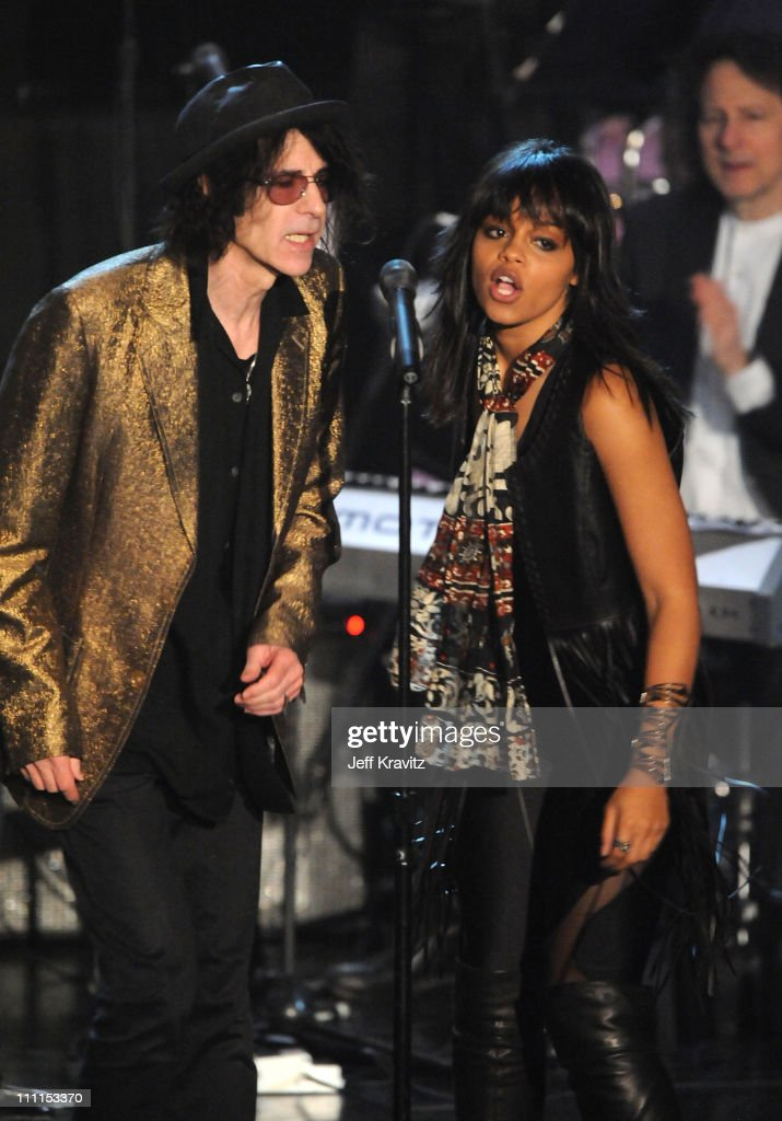 Musician Peter Wolf and singer Fefe Dobson perform onstage at the 25th Annual Rock and Roll Hall of Fame Induction Ceremony at the Waldorf=Astoria on March 15, 2010 in New York City.
