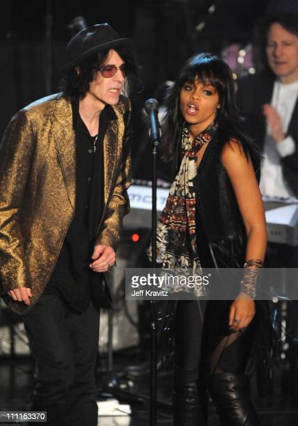 Musician Peter Wolf and singer Fefe Dobson perform onstage at the 25th Annual Rock and Roll Hall of Fame Induction Ceremony at the Waldorf=Astoria on...