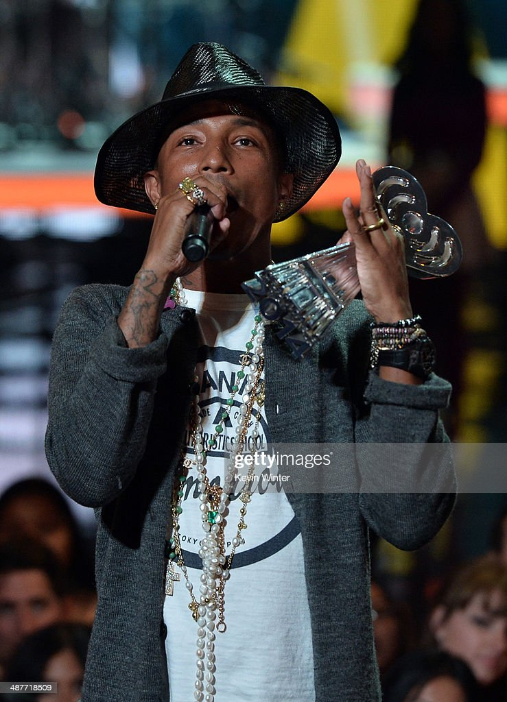 Musician Pharrell Williams accepts the iHeartRadio Innovator Award onstage during the 2014 iHeartRadio Music Awards held at The Shrine Auditorium on May 1, 2014 in Los Angeles, California. iHeartRadio Music Awards are being broadcast live on NBC.