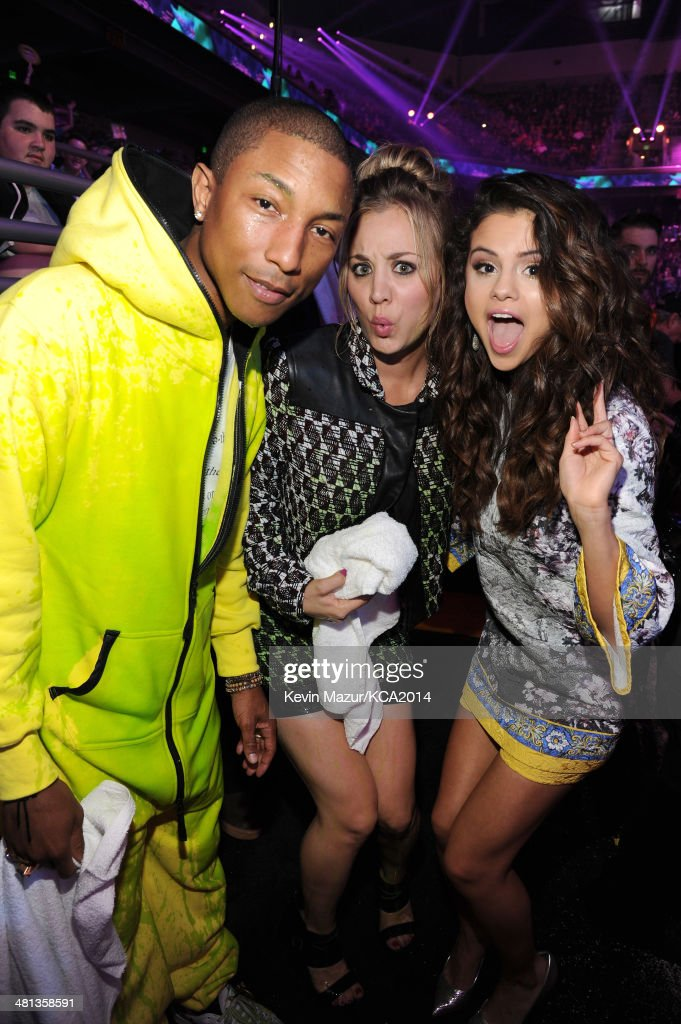 Musician Pharrell Williams, actress Kaley Cuoco-Sweeting and actress/singer Selena Gomez attend Nickelodeon's 27th Annual Kids' Choice Awards held at USC Galen Center on March 29, 2014 in Los Angeles, California.