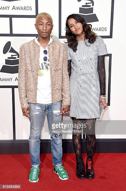 Musician Pharrell Williams and Helen Lasichanh attend The 58th GRAMMY Awards at Staples Center on February 15 2016 in Los Angeles California