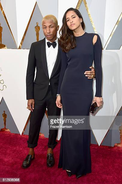 Musician Pharrell Williams and Helen Lasichanh attend the 88th Annual Academy Awards at Hollywood Highland Center on February 28 2016 in Hollywood...