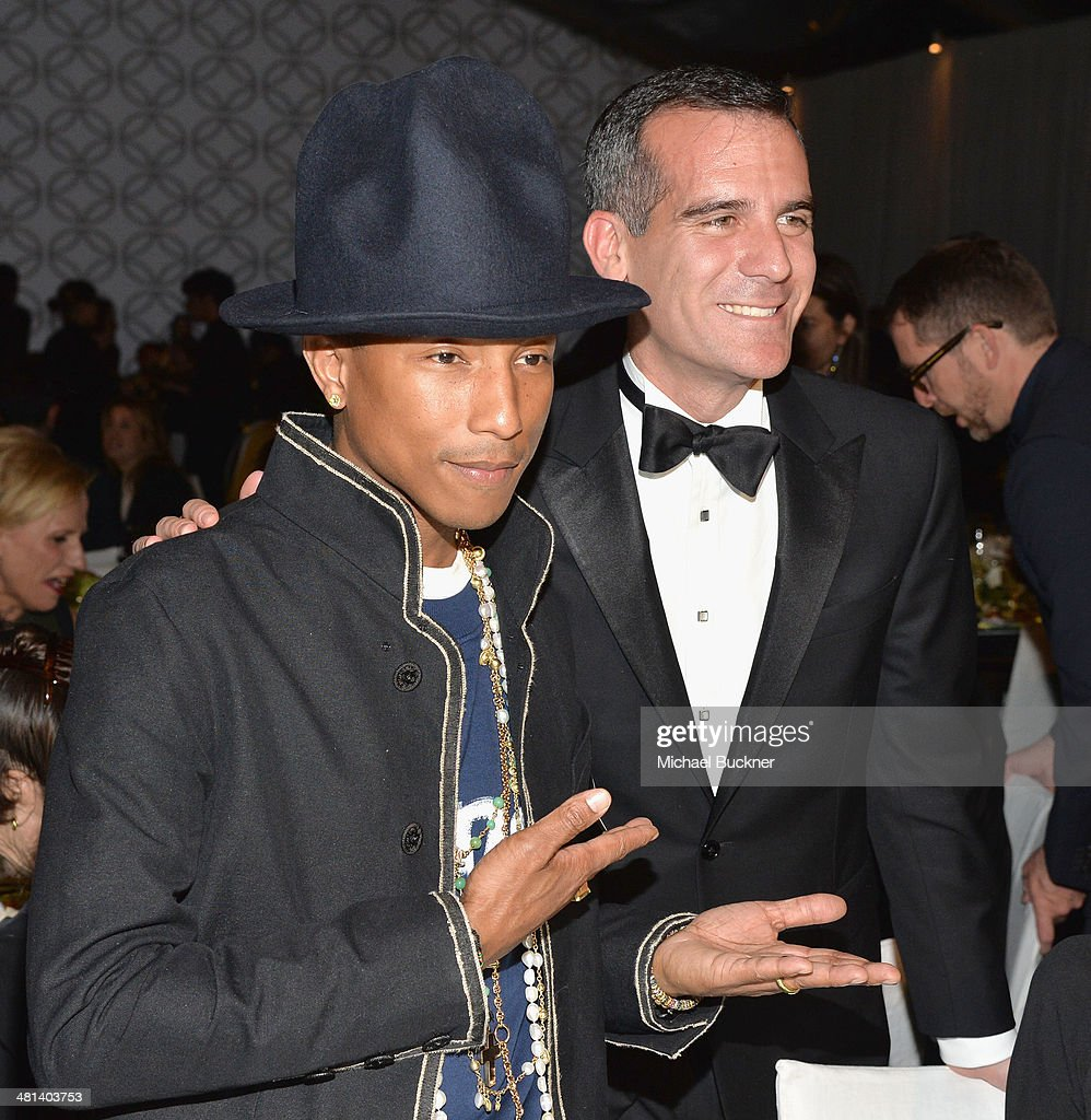 Musician <a gi-track='captionPersonalityLinkClicked' href=/galleries/search?phrase=Pharrell+Williams&family=editorial&specificpeople=161396 ng-click='$event.stopPropagation()'>Pharrell Williams</a> and Mayor of Los Angeles <a gi-track='captionPersonalityLinkClicked' href=/galleries/search?phrase=Eric+Garcetti&family=editorial&specificpeople=635706 ng-click='$event.stopPropagation()'>Eric Garcetti</a> attends MOCA's 35th Anniversary Gala presented by Louis Vuitton at The Geffen Contemporary at MOCA on March 29, 2014 in Los Angeles, California.