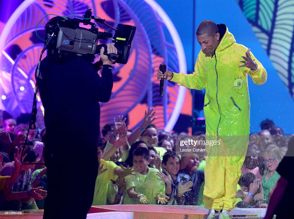 Musician <a gi-track='captionPersonalityLinkClicked' href=/galleries/search?phrase=Pharrell+Williams&family=editorial&specificpeople=161396 ng-click='$event.stopPropagation()'>Pharrell Williams</a> appears onstage during Nickelodeon's 27th Annual Kids' Choice Awards held at USC Galen Center on March 29, 2014 in Los Angeles, California.