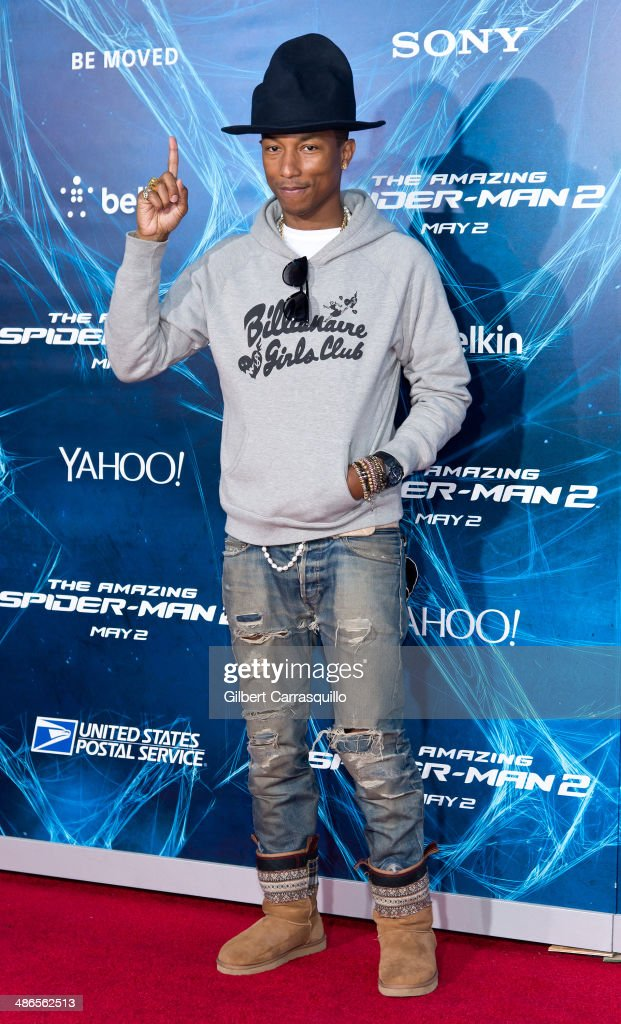 Musician <a gi-track='captionPersonalityLinkClicked' href=/galleries/search?phrase=Pharrell+Williams&family=editorial&specificpeople=161396 ng-click='$event.stopPropagation()'>Pharrell Williams</a> attends 'The Amazing Spider-Man 2' premiere at the Ziegfeld Theater on April 24, 2014 in New York City.