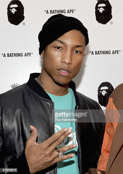 Musician Pharrell Williams attends the store opening of 'Nigo's A Bathing Ape' January 11 2005 in New York City
