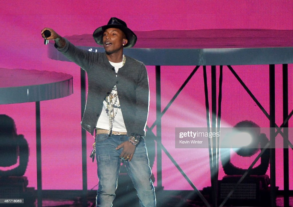 Musician <a gi-track='captionPersonalityLinkClicked' href=/galleries/search?phrase=Pharrell+Williams&family=editorial&specificpeople=161396 ng-click='$event.stopPropagation()'>Pharrell Williams</a> performs onstage during the 2014 iHeartRadio Music Awards held at The Shrine Auditorium on May 1, 2014 in Los Angeles, California. iHeartRadio Music Awards are being broadcast live on NBC.