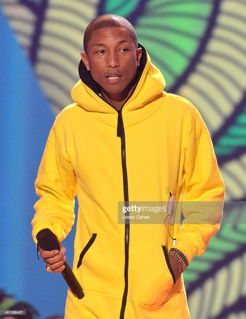 Musician <a gi-track='captionPersonalityLinkClicked' href=/galleries/search?phrase=Pharrell+Williams&family=editorial&specificpeople=161396 ng-click='$event.stopPropagation()'>Pharrell Williams</a> speaks onstage during Nickelodeon's 27th Annual Kids' Choice Awards held at USC Galen Center on March 29, 2014 in Los Angeles, California.