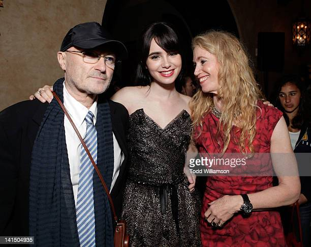 Musician Phil Collins actress Lily Collins and Jill Tavelman attend the after party for Relativity Media's 'Mirror Mirror' Los Angeles premiere at...