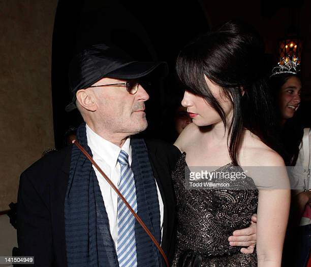 Musician Phil Collins and Actress Lily Collins attend the after party for Relativity Media's 'Mirror Mirror' Los Angeles premiere at the Roosevelt...