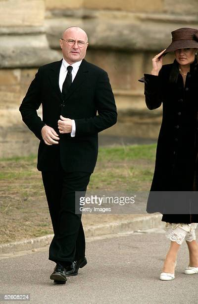 Musician Phil Collins and wife Orianne attend the Service of Prayer of Dedication following the marriage of TRH Prince Charles and The Duchess Of...