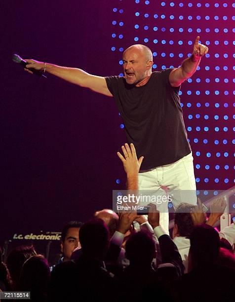 Musician Phil Collins performs at the 11th annual Andre Agassi Charitable Foundation's Grand Slam benefit concert at the MGM Grand Garden Arena...