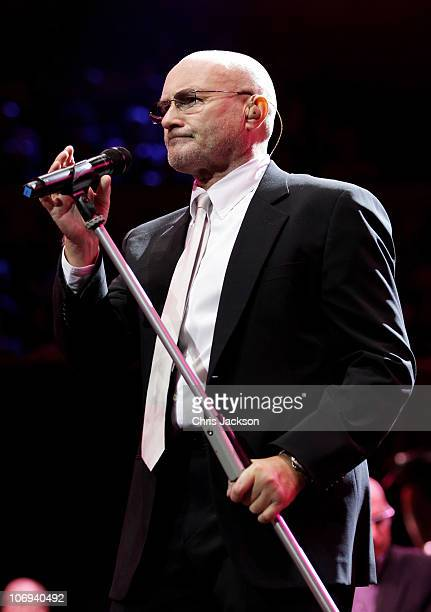 Musician Phil Collins performs at The Prince's Trust Rock Gala 2010 supported by Novae at the Royal Albert Hall on November 17 2010 in London England