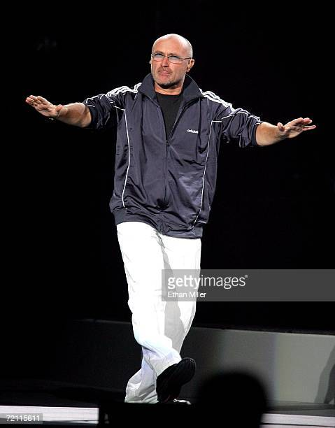 Musician Phil Collins walks onstage at the 11th annual Andre Agassi Charitable Foundation's Grand Slam benefit concert at the MGM Grand Garden Arena...