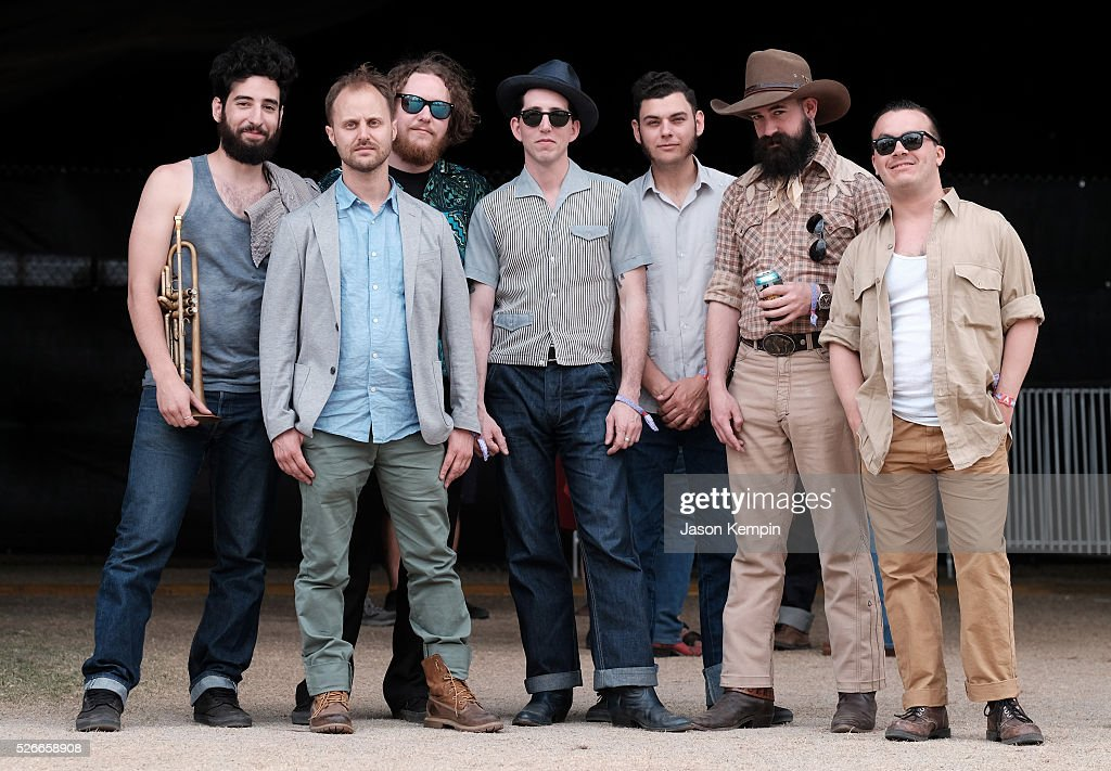 Musician Pokey LaFarge (C) and band members pose backstage during 2016 Stagecoach California's Country Music Festival at Empire Polo Club on April 30, 2016 in Indio, California.