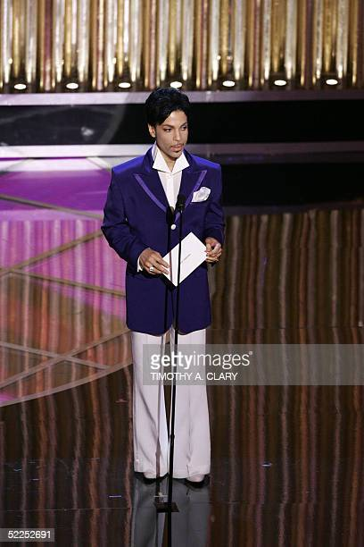 US musician Prince announces the Oscar for best original song during the 77th Academy Awards 27 February 2005 at the Kodak Theater in Hollywood The...