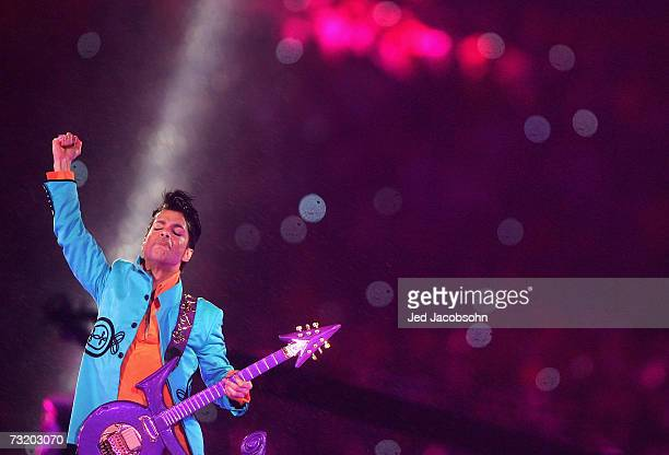 Musician Prince performs during the 'Pepsi Halftime Show' at Super Bowl XLI between the Indianapolis Colts and the Chicago Bears on February 4 2007...