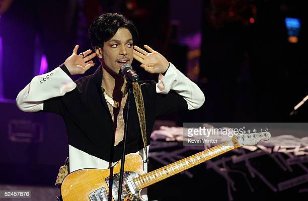 Musician Prince performs on stage at the 36th NAACP Image Awards at the Dorothy Chandler Pavilion on March 19 2005 in Los Angeles California Prince...