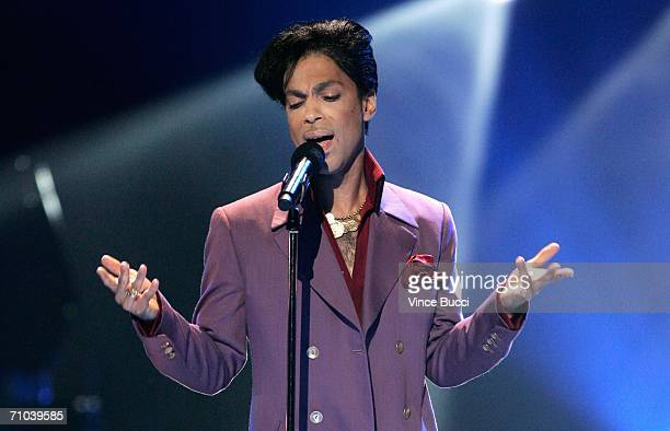 Musician Prince performs onstage during the American Idol Season 5 Finale on May 24 2006 at the Kodak Theatre in Hollywood California