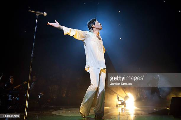 Musician Prince performs onstage during the 'Welcome 2 America' Tour at The Forum on May 29 2011 in Inglewood California