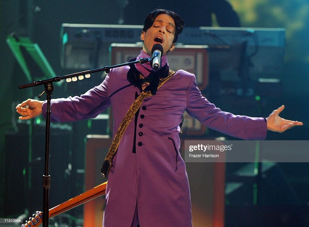Musician Prince performs the Chaka Khan tribute onstage at the 2006 BET Awards at the Shrine Auditorium on June 27 2006 in Los Angeles California