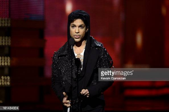 Musician Prince speaks onstage at the 55th Annual GRAMMY Awards at Staples Center on February 10 2013 in Los Angeles California