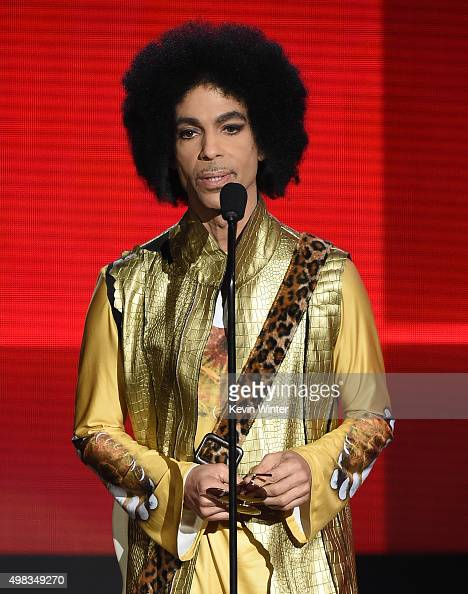 Musician Prince speaks onstage during the 2015 American Music Awards at Microsoft Theater on November 22 2015 in Los Angeles California