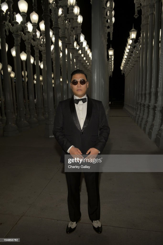 Musician <a gi-track='captionPersonalityLinkClicked' href=/galleries/search?phrase=Psy+-+Entertainer&family=editorial&specificpeople=9699998 ng-click='$event.stopPropagation()'>Psy</a> attends LACMA 2012 Art + Film Gala Honoring Ed Ruscha and Stanley Kubrick presented by Gucci at LACMA on October 27, 2012 in Los Angeles, California.