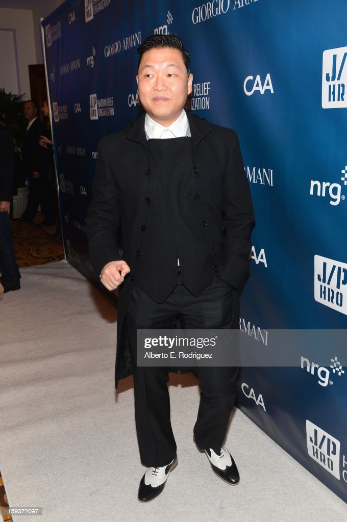 Musician PSY attends the 2nd Annual Sean Penn and Friends Help Haiti Home Gala benefiting J/P HRO presented by Giorgio Armani at Montage Hotel on January 12, 2013 in Los Angeles, California.