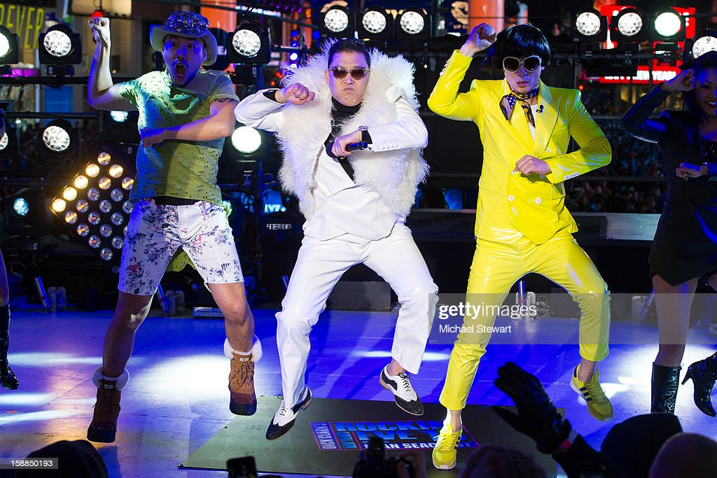 Musician Psy performs during New Year's Eve 2013 In Times Square at Times Square on December 31, 2012 in New York City.