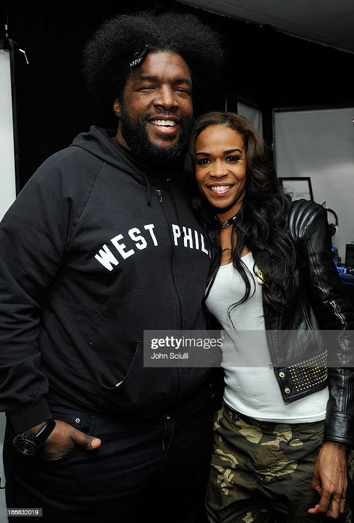 Musician Questlove(L) and singer Michelle Williams attends the Gift Lounge at the 28th Rock and Roll Hall of Fame Induction Ceremony presented by I Can't Believe It's Not Butter! 'Breakfast After Dark' produced by On 3 Productions at Nokia Theatre L.A. Live on April 17, 2013 in Los Angeles, California.