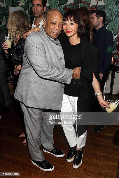 Musician Quincy Jones and actress Rashida Jones attend the Absolut Elyx Hosts Mark Ronson's Grammy's Afterparty at Elyx House Los Angeles on February...