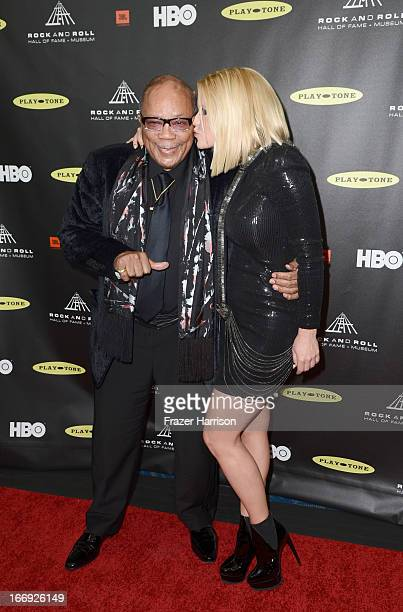 Musician Quincy Jones and TV personality Carrie Keagan attend the 28th Annual Rock and Roll Hall of Fame Induction Ceremony at Nokia Theatre LA Live...