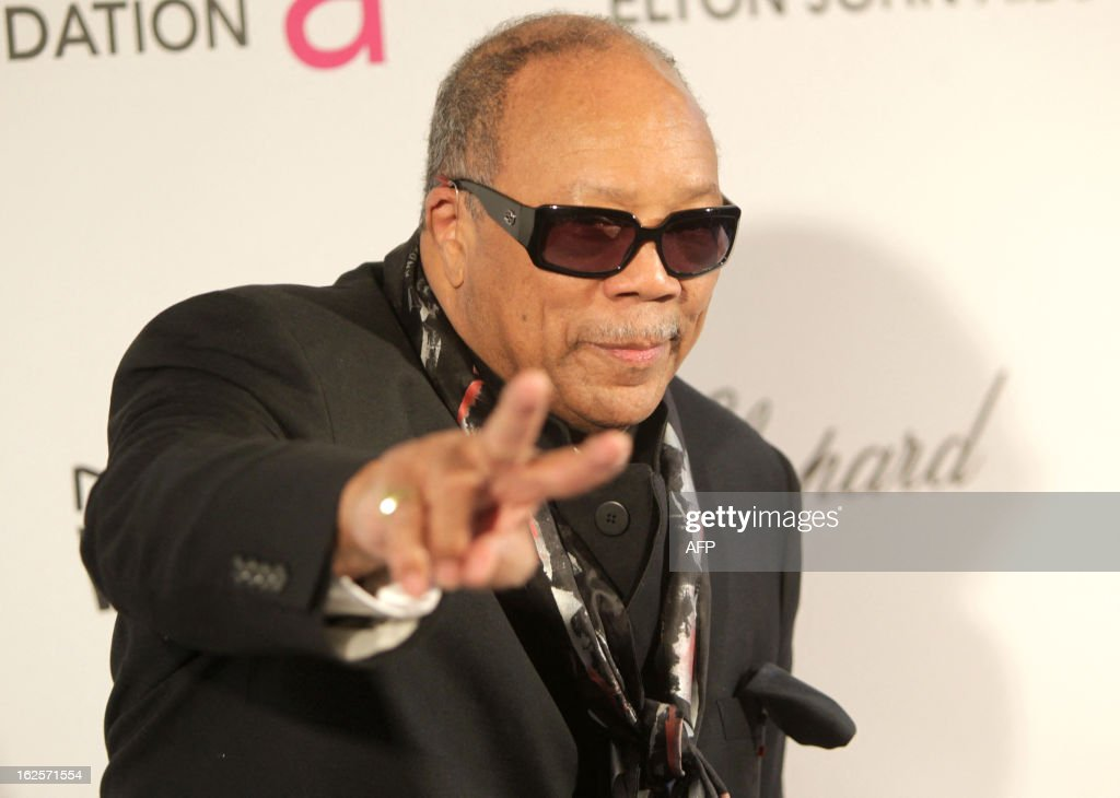 Musician Quincy Jones arrives for the 21st Annual Elton John AIDS Foundation's Oscar Viewing Party February 24, 2013 in Hollywood, California. AFP PHOTO/Mehdi TAAMALLAH