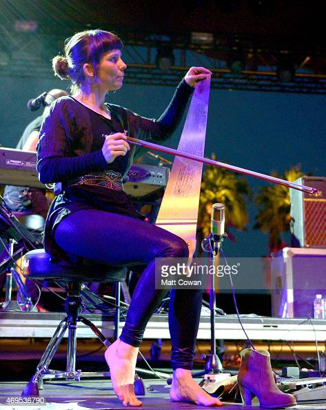 Musician Quinta performs onstage with Phillip Selway during day 3 of the 2015 Coachella Valley Music Arts Festival at the Empire Polo Club on April...