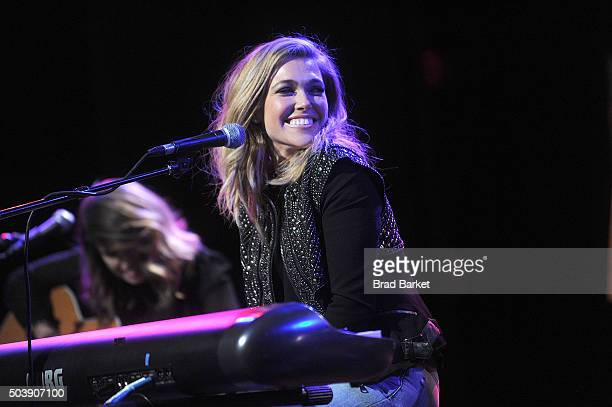 Musician Rachel Platten performs on stage during the release of her New Album 'Wildfire' at Hard Rock Cafe Times Square on January 7 2016 in New York...