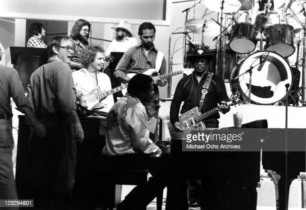 Musician Ray Parker Jr Billy Preston Bo Diddley and Charlie Daniels rehearse for a performance on a TV show in circa 1978
