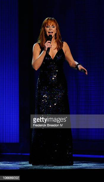 Musician Reba McEntire performs onstage at the 44th Annual CMA Awards at the Bridgestone Arena on November 10 2010 in Nashville Tennessee
