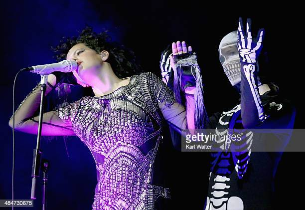 Musician Regine Chassagne of Arcade Fire performs onstage during day 3 of the 2014 Coachella Valley Music Arts Festival at the Empire Polo Club on...