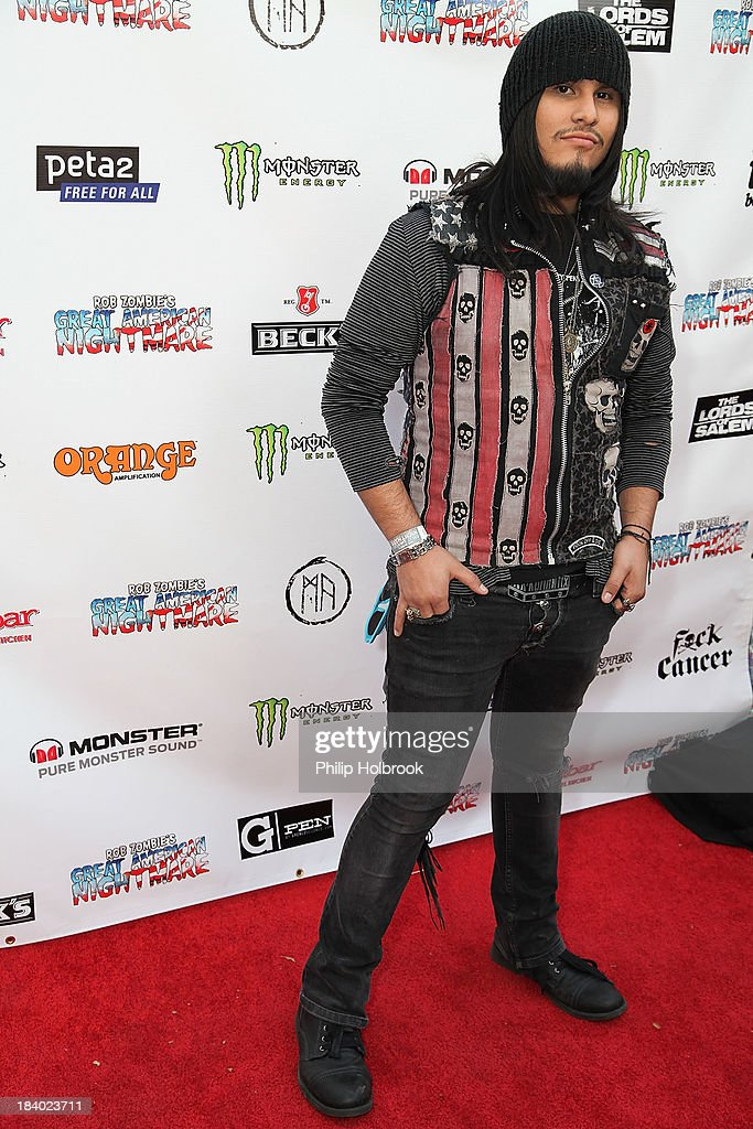 Musician Reybot from the band Forgotten Saints arrives at the VIP opening night party at Rob Zombie's Great American Nightmare held at the Fairplex on October 10, 2013 in Pomona, California