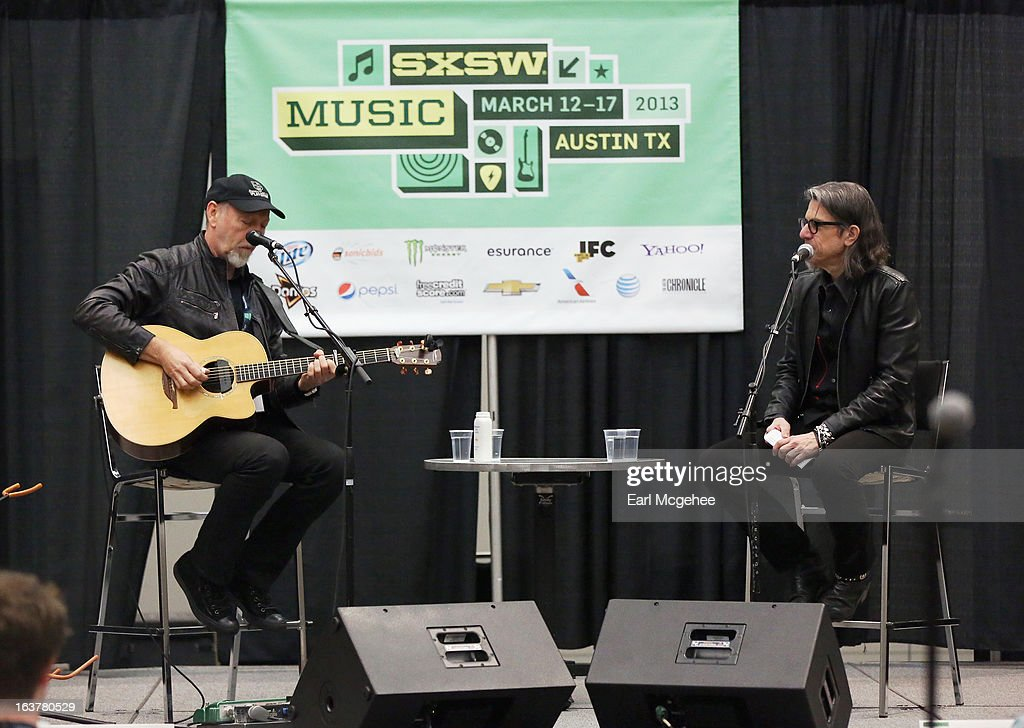 Musician Richard Thompson and Scott Goldman, VP The GRAMMY Foundation/MusiCares, speak onstage at Songwriter Session: Richard Thompson during the 2013 SXSW Music, Film + Interactive Festival at Austin Convention Center on March 15, 2013 in Austin, Texas.