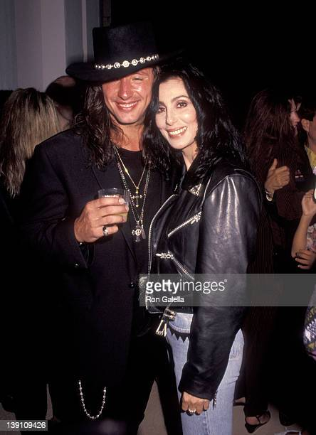 Musician Richie Sambora and singer/actress Cher attend Richie Sambora's 'Stranger in This Town' Album Release Party on September 4 1991 at Griffith...