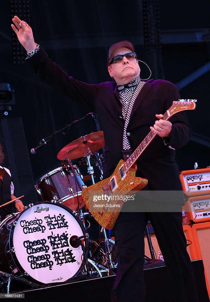 Musician <a gi-track='captionPersonalityLinkClicked' href=/galleries/search?phrase=Rick+Nielsen&family=editorial&specificpeople=214720 ng-click='$event.stopPropagation()'>Rick Nielsen</a> of Cheap Trick performs during 2013 Rock On The Range at Columbus Crew Stadium on May 17, 2013 in Columbus, Ohio.