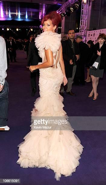 Musician Rihanna attends the MTV Europe Music Awards 2010 at La Caja Magica on November 7 2010 in Madrid Spain