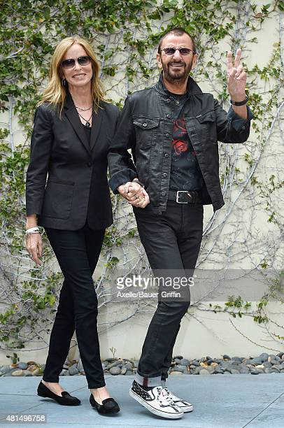 Musician Ringo Starr and actress Barbara Bach attend Ringo Starr's birthday fan gathering at Capitol Records on July 7 2015 in Hollywood California