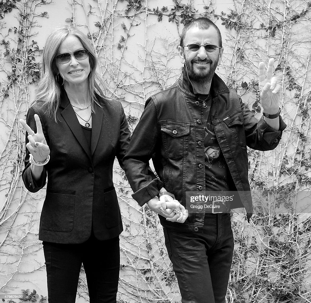 Musician Ringo Starr and actress Barbara Bach attend Ringo's birthday fan gathering at Capitol Records on July 7, 2015 in Hollywood, California.