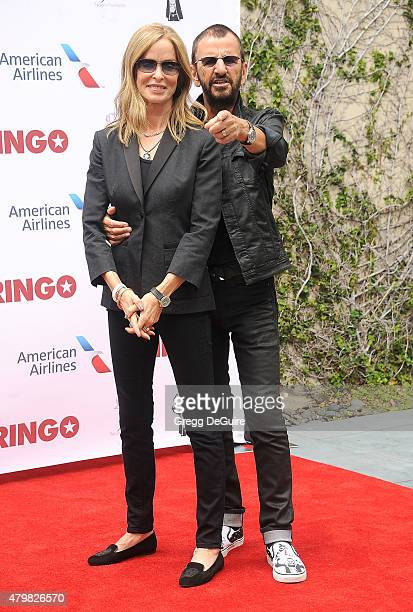 Musician Ringo Starr and Barbara Bach attend Ringo's birthday fan gathering at Capitol Records on July 7 2015 in Hollywood California